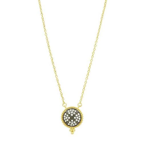 Gold and Black Signature Pavé Disk Pendant Necklace
