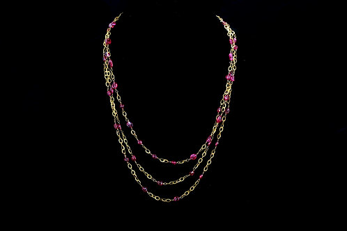 Triple Strand Pink Sapphire Necklace