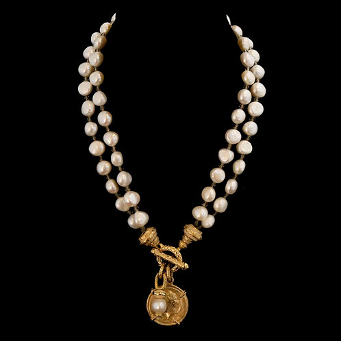 Double Strand Pearl Necklace with Coin Drop
