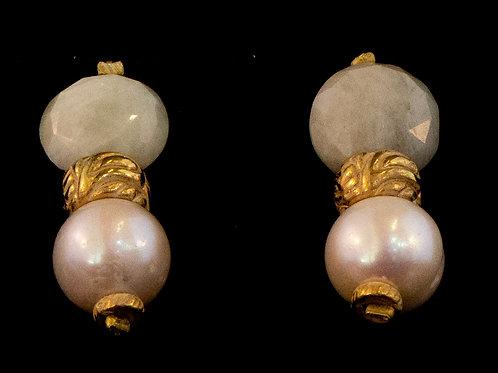 Agate/Pearl Drop Earrings