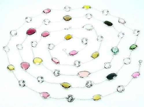 "Multi-colored Tourmaline 60"" Necklace"