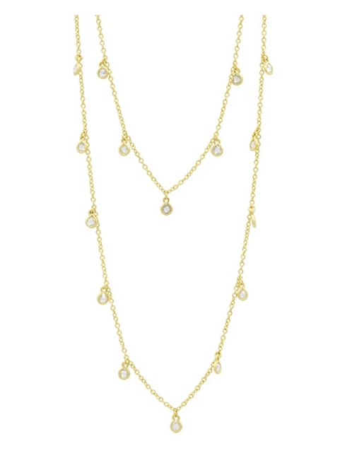 Gold Bezel Droplet Strand Necklace