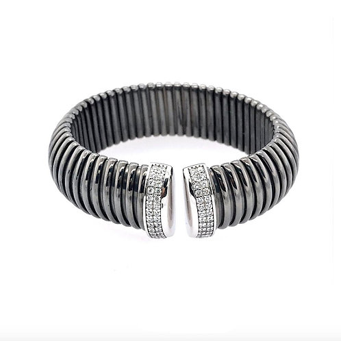 Black Rigged Bangle with CZ