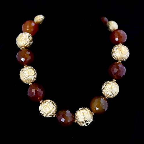 Large Carnelian and Gold Ball Necklace
