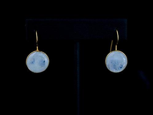 Coin Moonstone Earrings