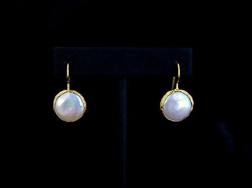 Coin Pearl Drop Earrings