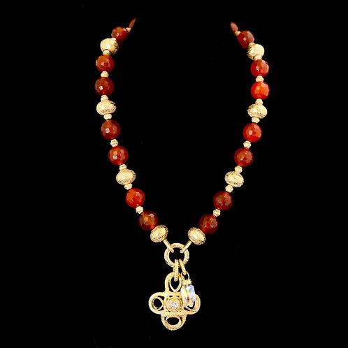 Carnelian Necklace with Cross Drop