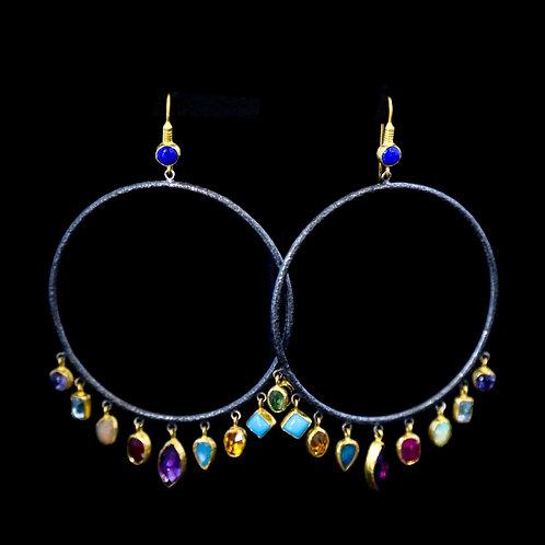 Semi-Precious Multistone Hoop Earrings