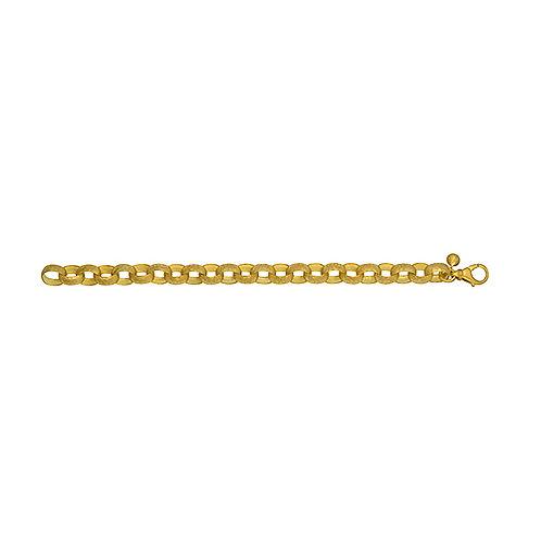 18K Hammered Link Chain Bracelet