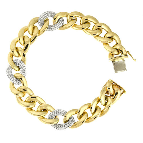 Gold Link Bracelet with Diamonds