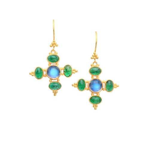 Blue Moonstone and Emerald Earrings