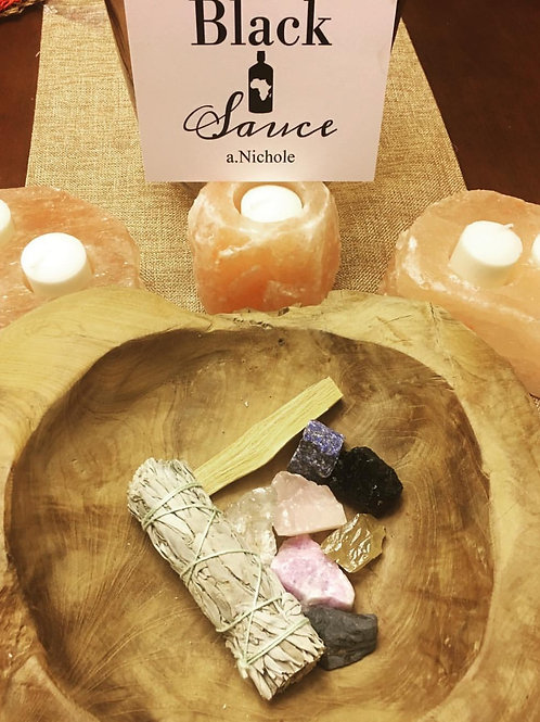 Natural Healing Crystals, Palo Santo Incense Wood Stick, and White Sage Kit