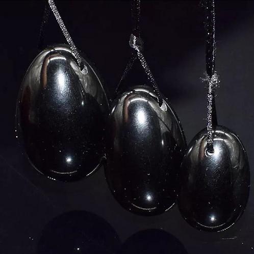 Black Obsidian Three Piece Yoni Egg Set