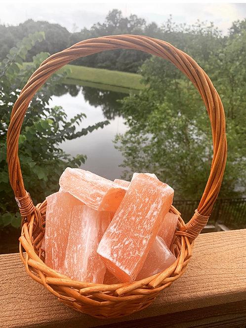 Large Peach Selenite Block