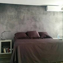 Worn leather wall finish