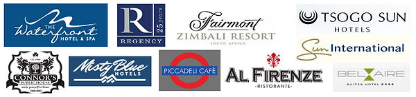Corpoate clients, waterfront, zimbali, tsogo sun, connor's public house, misty blue hotels, piccadelicafe, al firenze, sun internaional, durban, durban north ballito