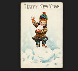 Happy New Year! A child throwing snowballs
