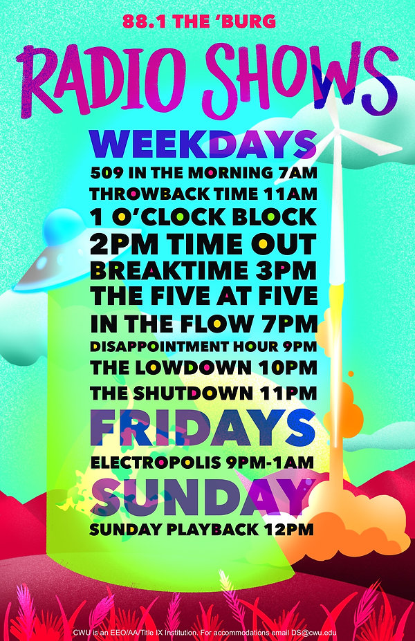 509 in the Morning 7AM, Throwback time 11AM, 1 o'clock block, 2PM time out, Breaktime 3PM, The Five at Five, in the Flow 7PM, Disappointment Hour 9M, The Lowdon 10PM, The Shutdown 11PM, Fridays Electropolis 9PM - 1AM, Sunday Sunday playback 12PM
