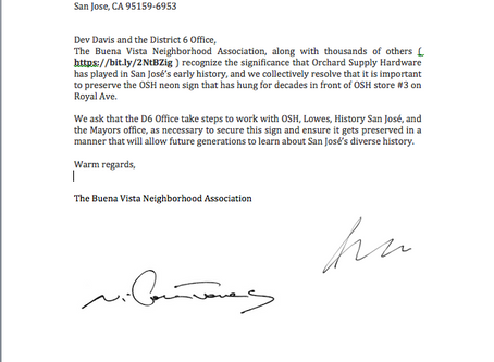 Buena Vista Neighborhood Association Resolves to Ask the D6 Office to Preserve the Neon Sign that Hu