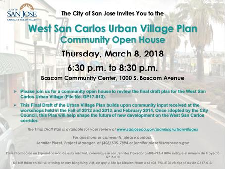 Proposed West San Carlos Urban Village Plan at 1000 South Bascom Avenue, Community Meeting, GP17-013