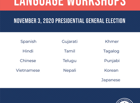 Registrar of Voters Office Providing a Variety of Language Workshops for Santa Clara County Voters
