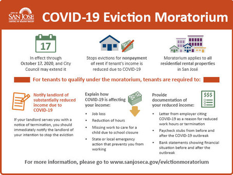 San Jose's Temporary Eviction Moratorium Extended Until Oct 17th