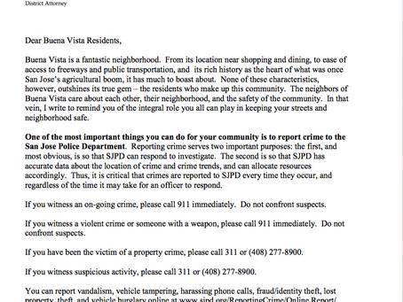Open Letter From DA's Office