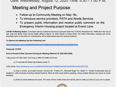 Emergency Interim Housing in San José (Council District 6) Public Information Meeting