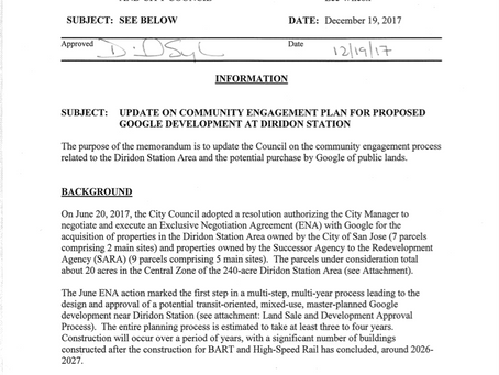 Update On Community Engagement Plan For Proposed Google Development At Diridon Station