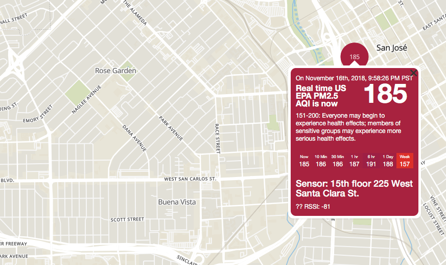 Map of current air quality readings around the Buena Vista Area