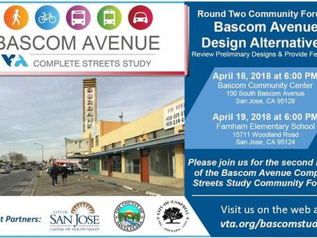 VTA Bascom Complete Streets Study: Two Community Meetings Planned