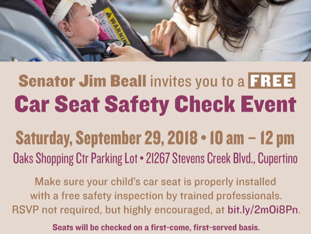 Free Car Seat Safety Check, Sept. 29