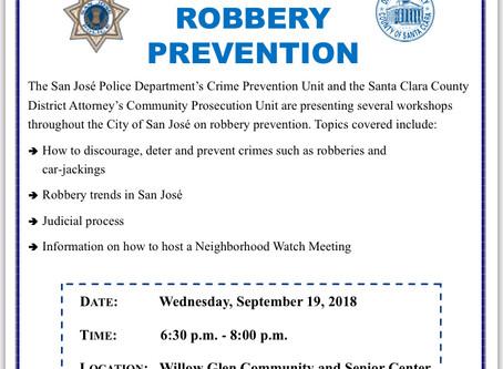 SJPD Crime Prevention: Robbery Prevention Workshop