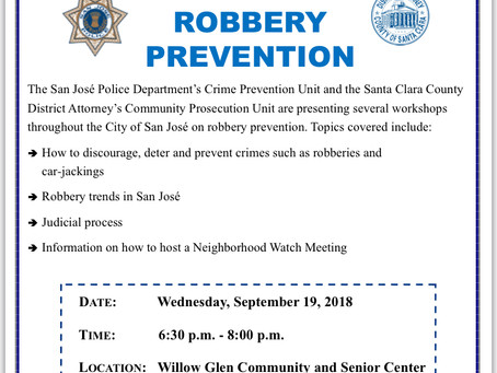 SJPD Crime Prevention: Robbery Prevention Workshop