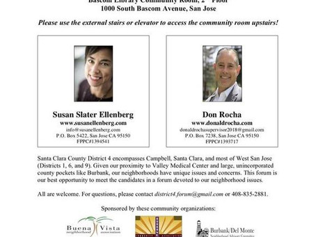 Santa Clara County District 4 Supervisor Forum, Oct. 11th
