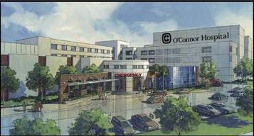 Water color drawing of O'Connor Hospital, San Jose, CA