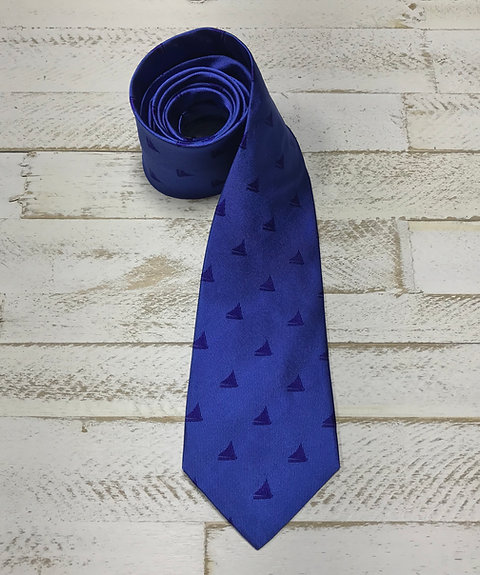 Woven Silk Tie, Bright Blue with Cayman Catboat