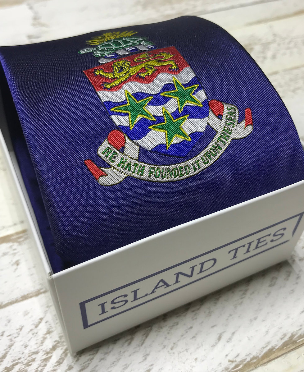 Cayman Islands Coat of Arms Woven Silk Tie - IN STOCK NOW