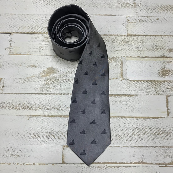 Woven Silk Tie, Light Grey with Cayman Catboat
