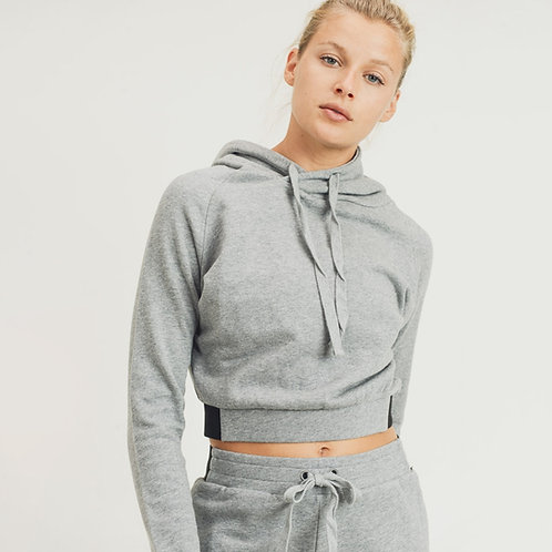 Terry Cotton Cropped Hoodie Pullover