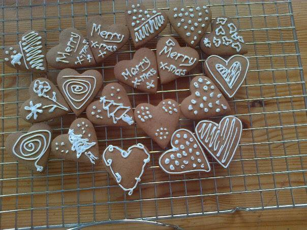 Heart Shaped and Iced Gingerbread Biscuits