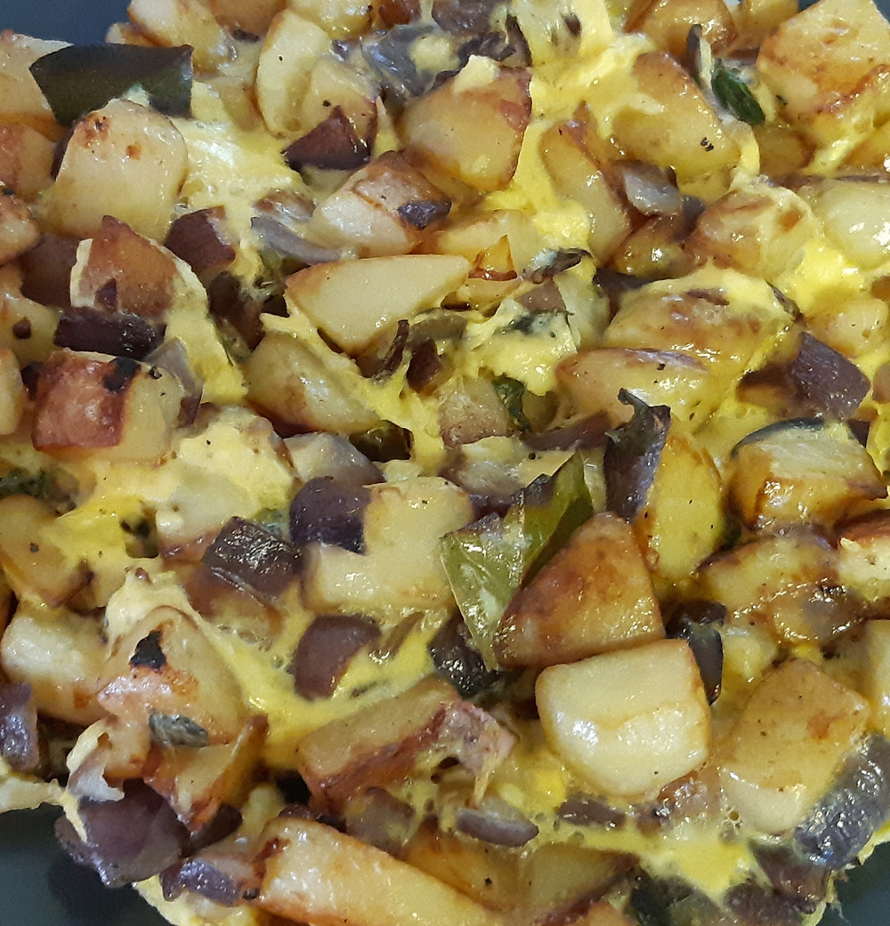 Cooked potato and red onion frittata