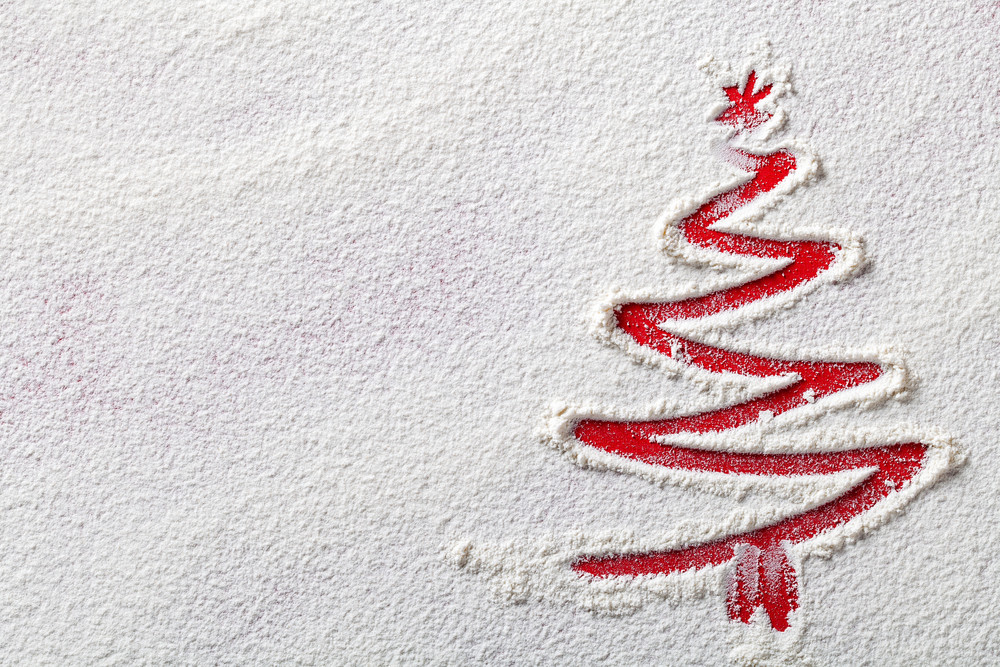 Hand drawn christmas tree image in flour!