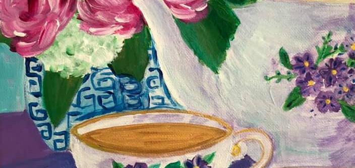 Teacup and Teapot Floral by Erin Vazdauskas