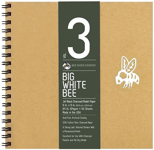 "Bee Paper® Big White Bee Jet Black Charcoal/Pastel Paper 9"" x 9"""