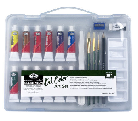 Royal Brush Oil Small Clear View Art Set - 21 pc