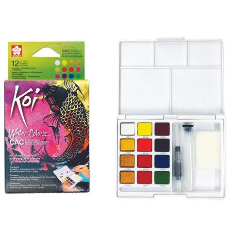 Sakura Koi 12 Color Fluorescent/Metallic Watercolor Set