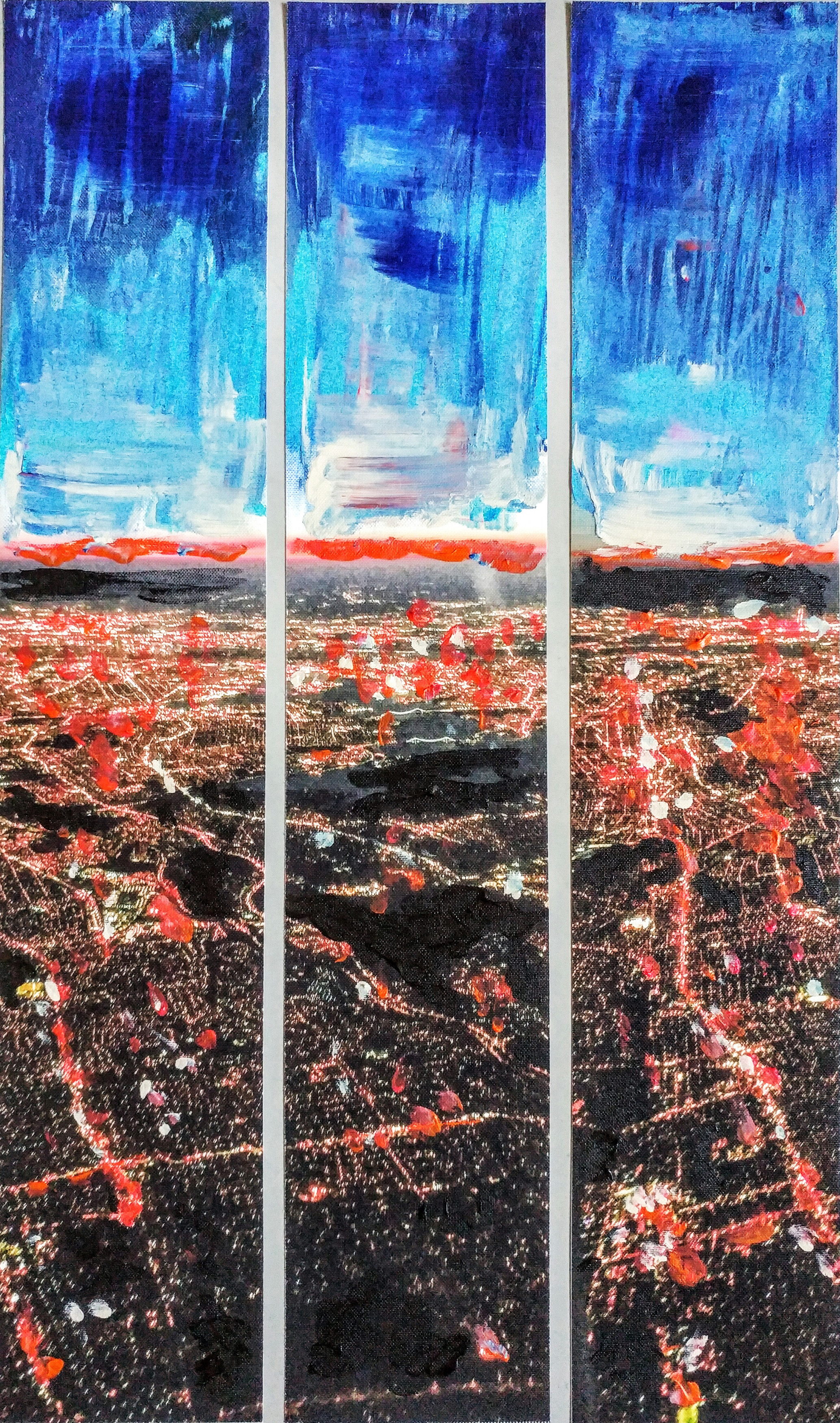 "in-flight triptych 3"" x 16"" (2016)"