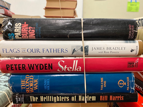 Variety of WW II books Is Paris Burning? Flags of our Fathers, The Hellfighters