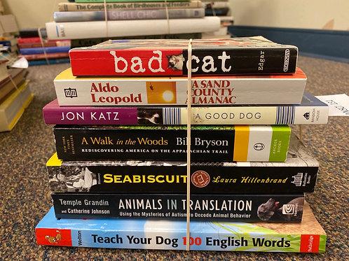 Variety of books on animals